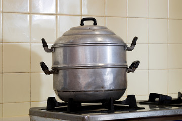 Steamer pot on the stove
