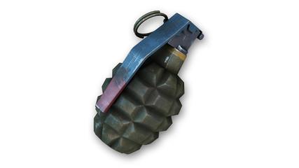 Hand grenade, fragmentation grenade isolated on white background