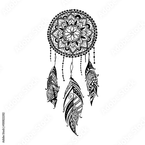 Quot Hand Drawn Mandala Dreamcatcher With Feathers Ethnic