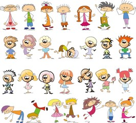 Cute happy cartoon doodle kids