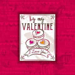 Red background with valentine heart, cookies and greeting text,