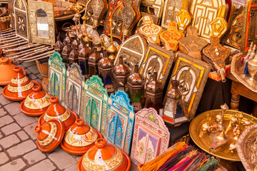 Various lamps for sale in market