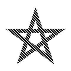 Pentagram sign on white.