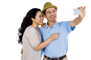 Man and woman taking a picture