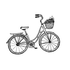Old bicycle  vintage illustration