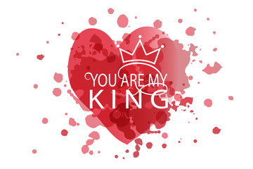 You Are my King as Valentine's Day logotype, badge and icon