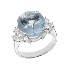 Ring with dark blue sapphire on the white