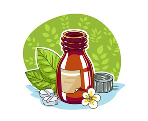 Jar with pill. Eps8 vector illustration. Isolated on white