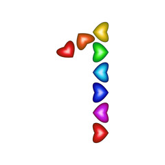 Number 1 made of multicolored hearts