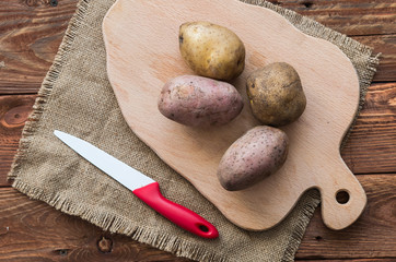 The raw potatoes