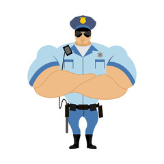 Police officer. Man in form of policing. Police man in bodybuild