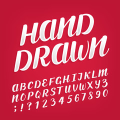 Hand drawn alphabet vector font. Brush script lettering ans numbers for labels, headlines, posters etc.