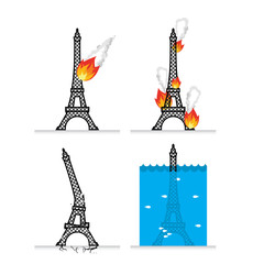 Destruction of Eiffel Tower in Paris. Meteorite flies symbol of