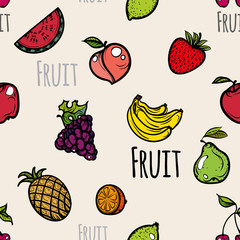 Seamless pattern colored fruit icons.