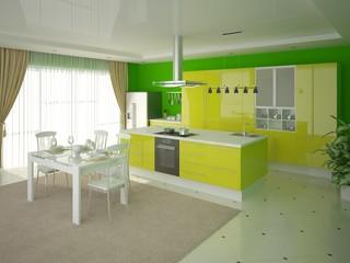 Illustration of modern style kitchen.