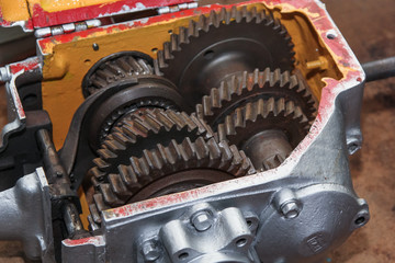 Cross-section of a car gearbox and clutch