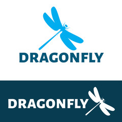 Dragonfly logo. Vector logo insect.