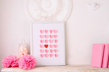 valentines day design with hearts in frame