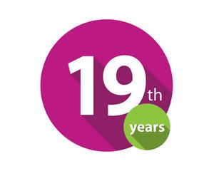 19th years purple circle anniversary logo