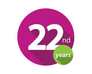 22nd years purple circle anniversary logo