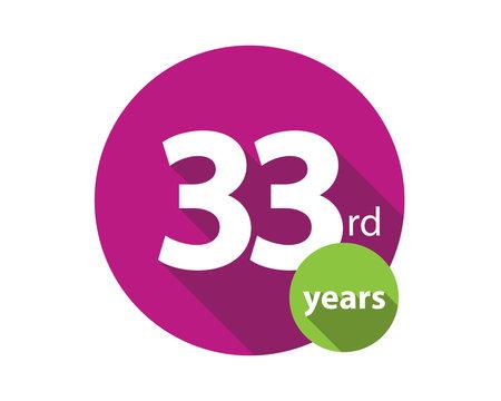 33rd years purple circle anniversary logo