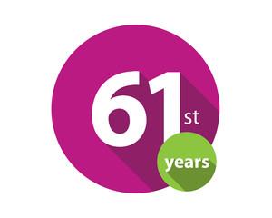 61st years purple circle anniversary logo