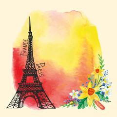 Paris card.Eiffel tower,Watercolor stain,Narcissus bouquet