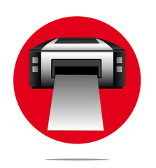 Illustration of a printer with red circle background
