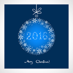 Merry Christmas and Happy New Year 2016. stylized blue ball with snowflakes. Season greeting card template