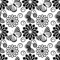 Black and white seamless pattern with decorative flowers and butterflies