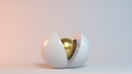 Business concept illustration, a 3d golden sphere is born from another sphere (reborn)