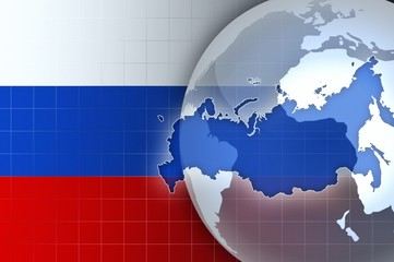 Russia Map and Flag on a world globe news background