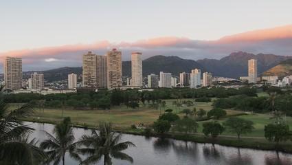 East Honolulu on the town side of the Koolau Mountains, Oahu, Hawaii, USA