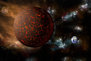 The Mythical planet Nibiru or Planet X hurtles towards Earth - Elements of this image furnished by NASA