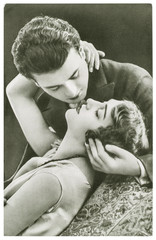 Young sexy couple in love. Vintage picture