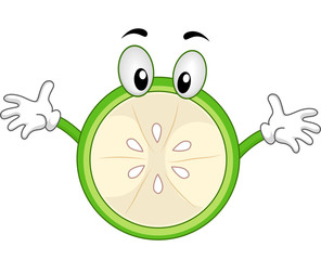 Green Lemon Mascot with Open Arms