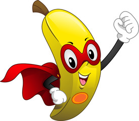 Caped Banana Mascot Superfood