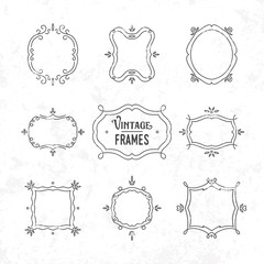 Set of 9 cute vintage frames of different orientations and forma