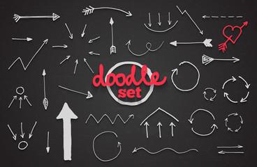 Vector set of doodle arrows