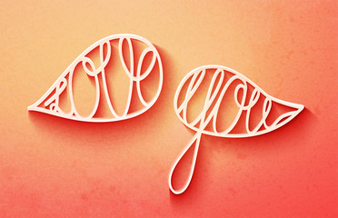 Cute valentines day lettering, love you words in speech bubbles