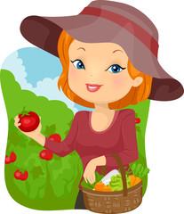 Deurstickers Feeën en elfen Girl Vegetable Tomato Harvest Basket