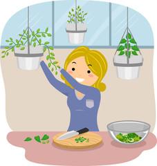 Stickman Girl Pick Indoor Herbs Cook