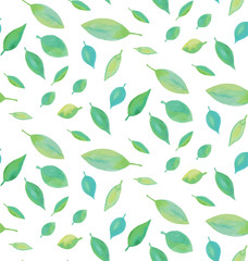 Seamless watercolor leaf pattern