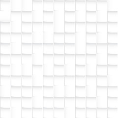 Seamless white squares pattern, abstract 3d vector background