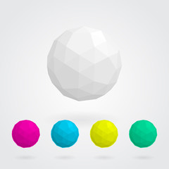 Set of abstract  spheres made of geometric shapes
