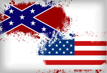 Confederate flag vs. Union flag. Civil war concept