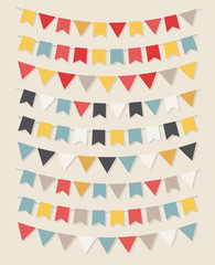 Vector bunting party flags set in different colors