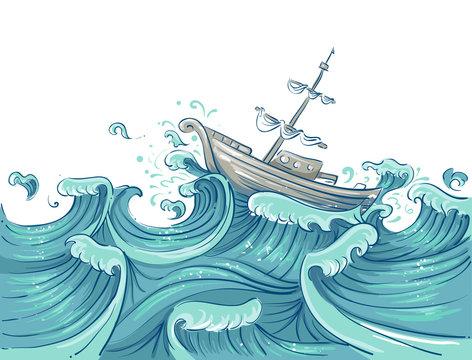 Wave Storm Ship Toss