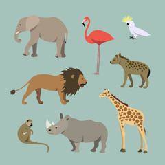 Set Of Different African Animals. Animals of the African savanah lioness, elephant, rhinoceros, giraffe, flamingo, monkey, hyena