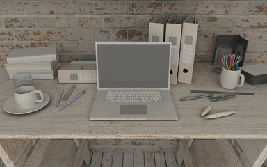 white interior desk and bookshelf